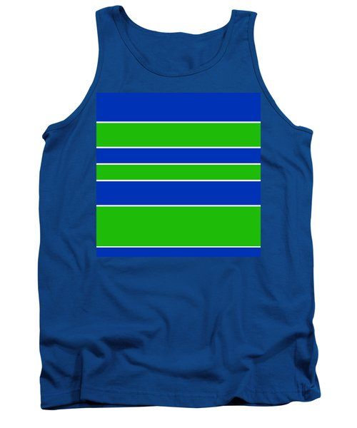 Stacked - Navy, White, And Lime Green Tank Top