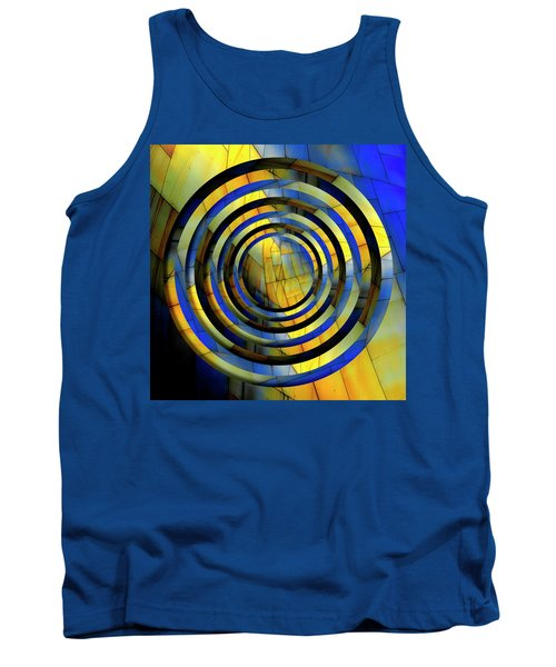 Yellow And Blue Metal Circles Tank Top