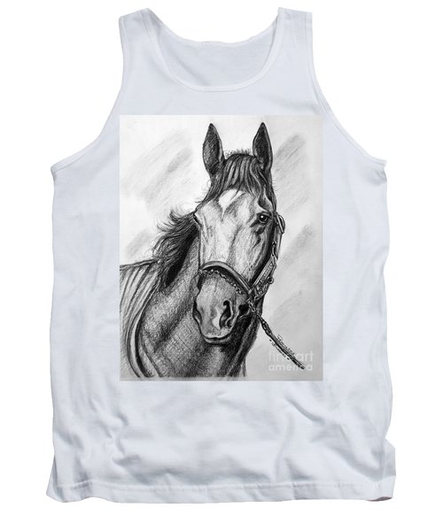 Tank Top featuring the drawing  Barbaro by Patrice Torrillo