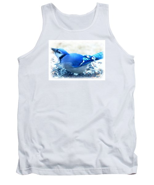 Bright Blue Jay  Tank Top by Peggy Franz
