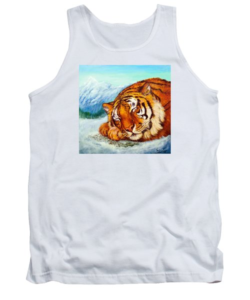 Tank Top featuring the painting  Tiger Sleeping In Snow by Bob and Nadine Johnston