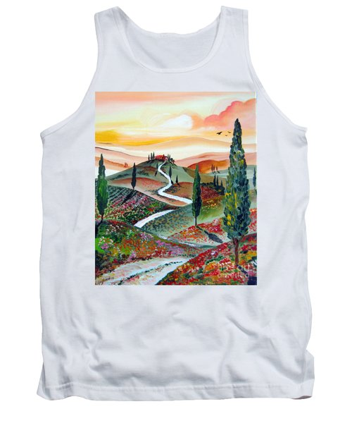 Tank Top featuring the painting  Winding Country Road Among The Hills Of Tuscany by Roberto Gagliardi