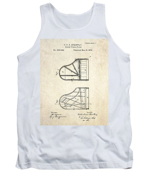 1878 Steinway Grand Piano Forte Patent Art S. 1 Tank Top by Gary Bodnar