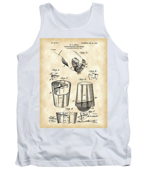 Cocktail Mixer And Strainer Patent 1902 - Vintage Tank Top