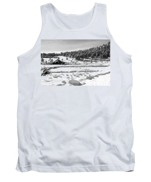 Tank Top featuring the photograph Evergreen Lake House Winter by Ron White