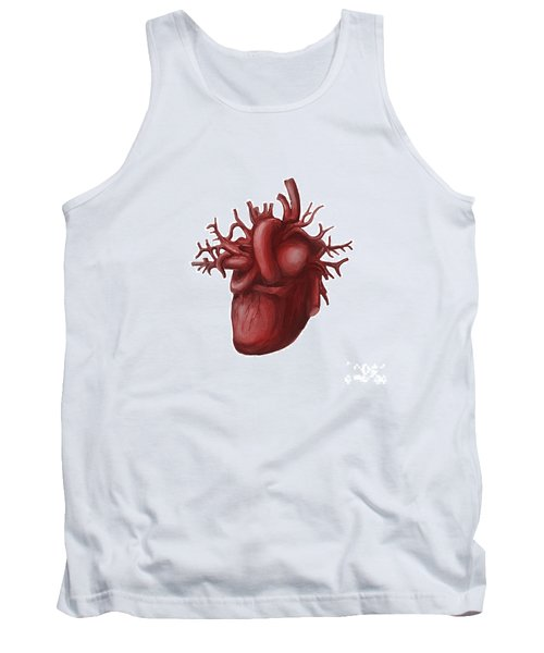 Human Heart Medical Diagram Isolated On White Tank Top