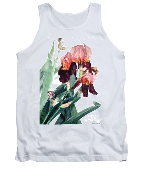 Watercolor Of A Pink And Maroon Tall Bearded Iris I Call Iris La Forza Del Destino Tank Top