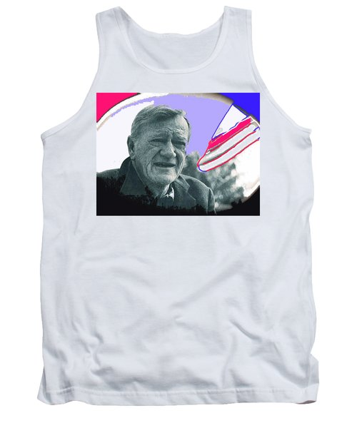 Tank Top featuring the photograph John Wayne Out Of Costume With Flag by David Lee Guss