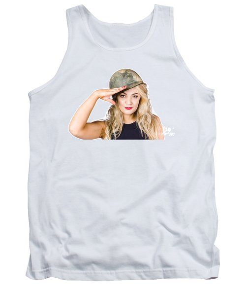 Pinup Beauty Saluting To A Mission Accomplished Tank Top