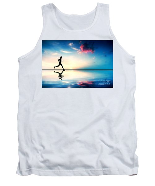 Silhouette Of Man Running At Sunset Tank Top
