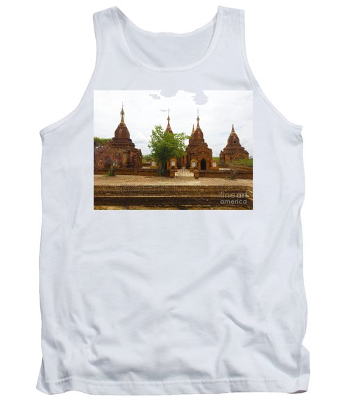 Tank Top featuring the photograph Smaller Temples Next To Dhammayazika Pagoda Built In 1196 By King Narapatisithu Bagan Burma by Ralph A  Ledergerber-Photography