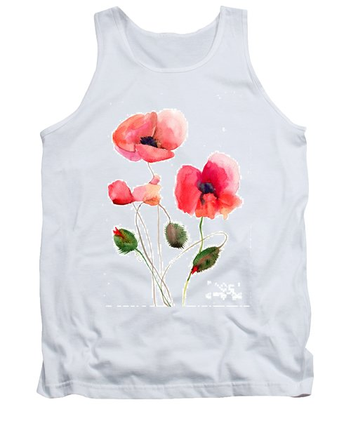 Stylized Poppy Flowers Illustration Tank Top