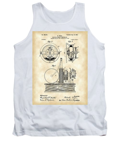 Tesla Electric Circuit Controller Patent 1897 - Vintage Tank Top by Stephen Younts