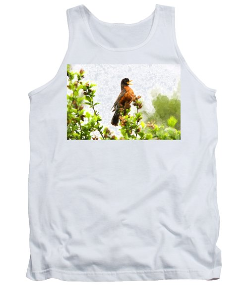 Tank Top featuring the photograph The Robin Sings by John Freidenberg