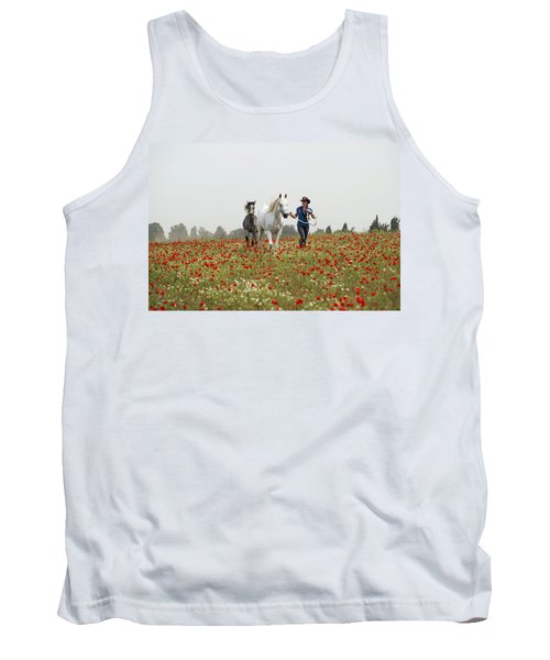 Tank Top featuring the photograph Three At The Poppies' Field... 3 by Dubi Roman