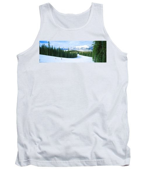Tourists Skiing On A Snow Covered Tank Top