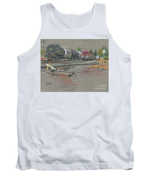 Tank Top featuring the drawing Train's Coming by Donald Maier