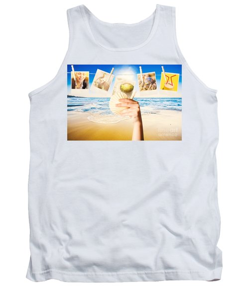 Vacation Woman With Photos From Summer Holiday Tank Top