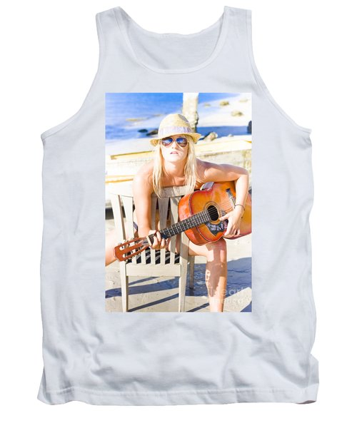Woman With Guitar Tank Top