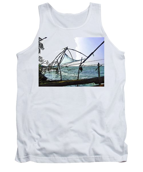 Fishing Nets On The Sea Coast In Alleppey Tank Top