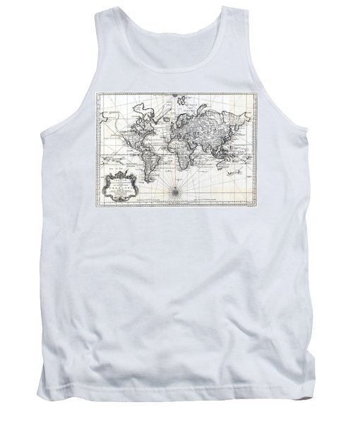 Tank Top featuring the photograph 1748 Antique World Map Versuch Von Einer Kurzgefassten Karte  by Karon Melillo DeVega