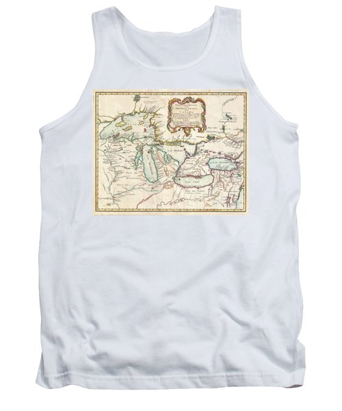 1755 Bellin Map Of The Great Lakes Tank Top