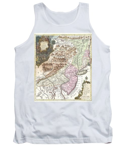 1756 Lotter Map Of Pennsylvania New Jersey And New York Tank Top