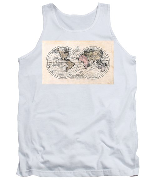 Tank Top featuring the photograph 1791 Antique World Map Die Funf Theile Der Erde by Karon Melillo DeVega