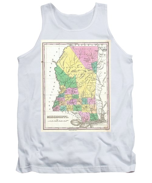 1827 Finley Map Of Mississippi Tank Top