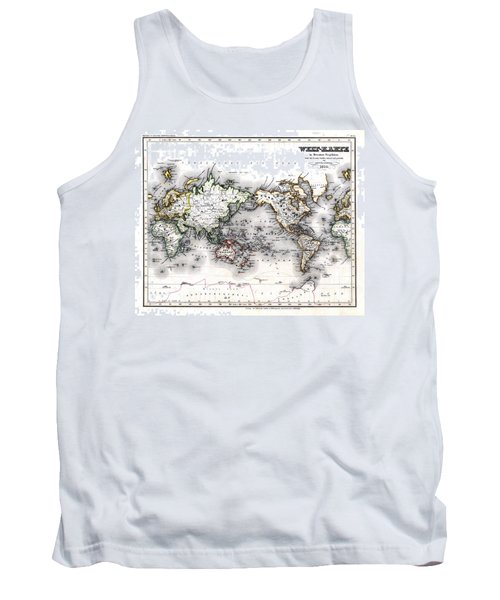 Tank Top featuring the photograph 1850 Antique World Map Welt Karte In Mercators Projektion by Karon Melillo DeVega