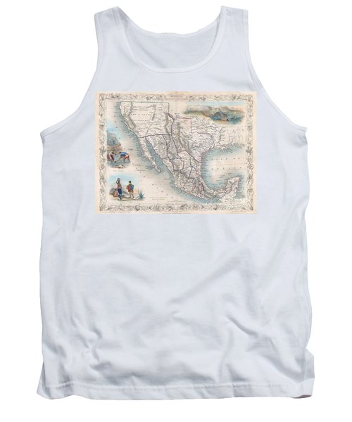 1851 Tallis Map Of Mexico Texas And California  Tank Top