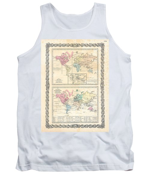 Tank Top featuring the photograph 1855 Antique First Plate Ortelius World Map Animal Kingdom World Commerce And Navigation by Karon Melillo DeVega