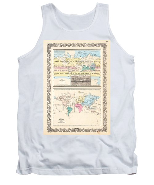 Tank Top featuring the photograph 1855 Antique World Maps Illustrating Principal Features Of Meteorology Rain And Principal Plants by Karon Melillo DeVega