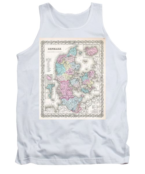 1855 Colton Map Of Denmark Tank Top