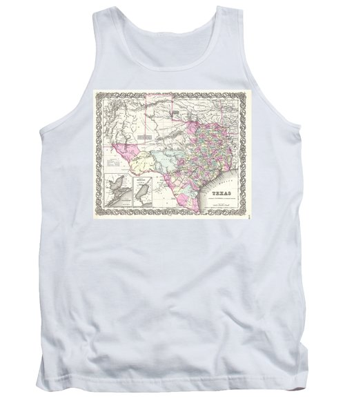 1855 Colton Map Of Texas Tank Top