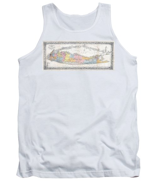 1857 Colton Travellers Map Of Long Island New York Tank Top