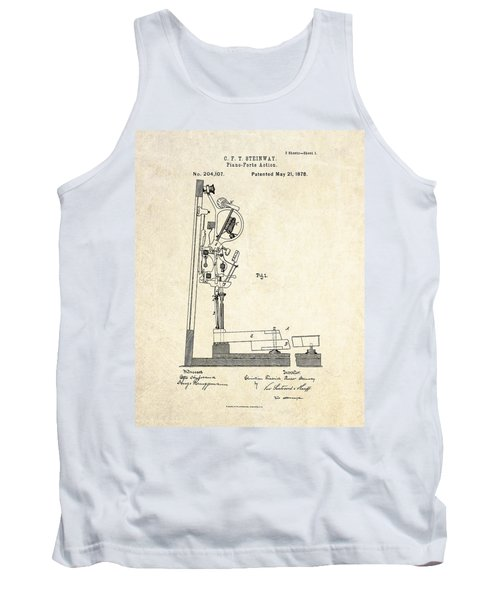 1878 Steinway Piano Forte Action Patent Art  Tank Top by Gary Bodnar