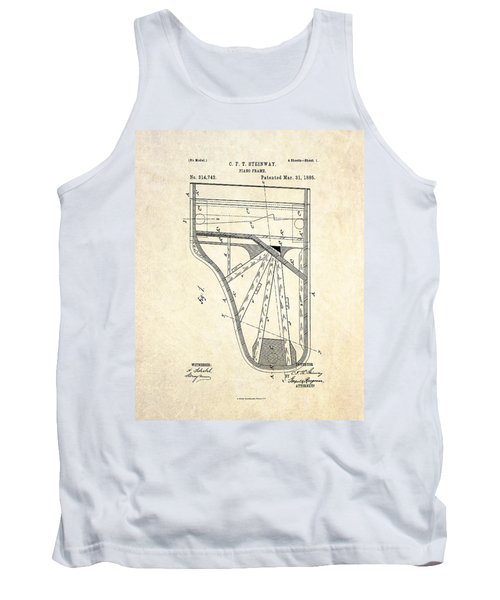 1885 Steinway Piano Frame Patent Art Tank Top by Gary Bodnar
