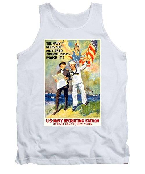1917 - United States Navy Recruiting Poster - World War One - Color Tank Top