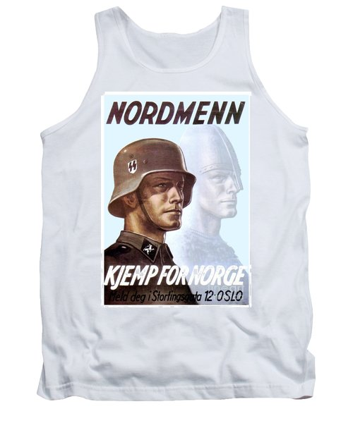 1943 - German Waffen Ss Recruitment Poster - Norway - Color Tank Top