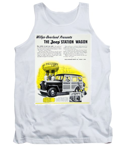 1946 - Willys Overland Jeep Station Wagon Advertisement - Color Tank Top