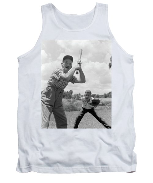 1950s Grandfather At Bat With Grandson Tank Top