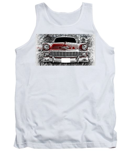 Classic Car Tank Top featuring the photograph 1956 Chevy Bel Air by Aaron Berg