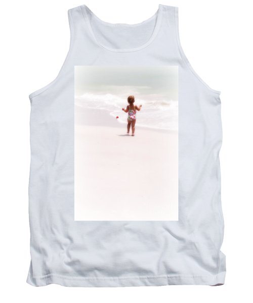 Tank Top featuring the digital art Baby Chases Red Ball by Valerie Reeves