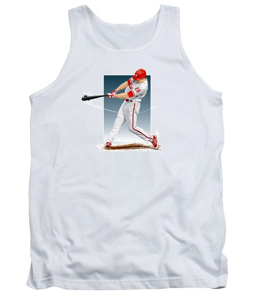 Tank Top featuring the digital art Chase Utley by Scott Weigner