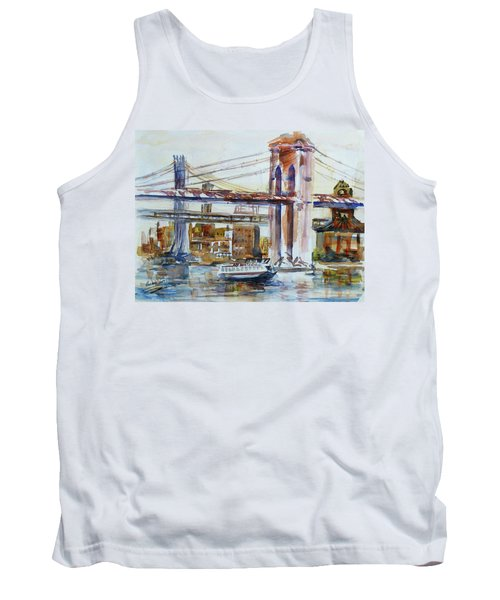 Tank Top featuring the painting Downtown Bridge by Xueling Zou