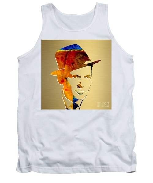 Tank Top featuring the mixed media Frank Sinatra Gold Series by Marvin Blaine