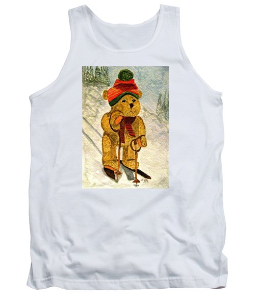 Learning To Ski Tank Top by Angela Davies