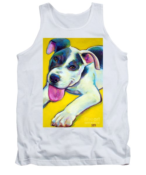 Tank Top featuring the painting Pit Bull Puppy by Robert Phelps