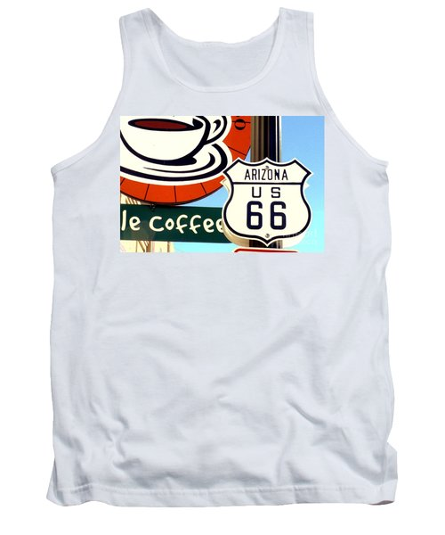 Tank Top featuring the digital art Route 66 Coffee by Valerie Reeves